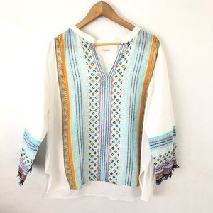Sundance Boho White Tunic Colorful Print